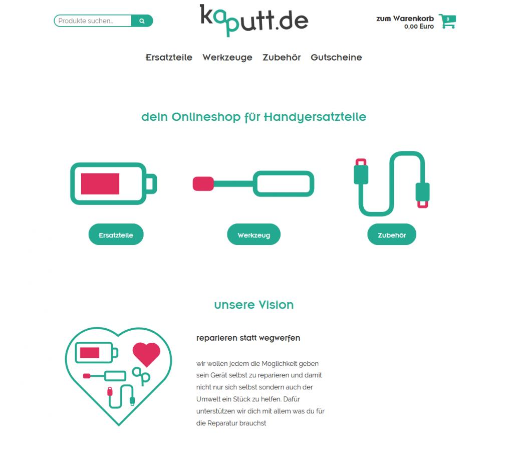 Startseite von kaputt. de (Screenshot www.kaputt.de)