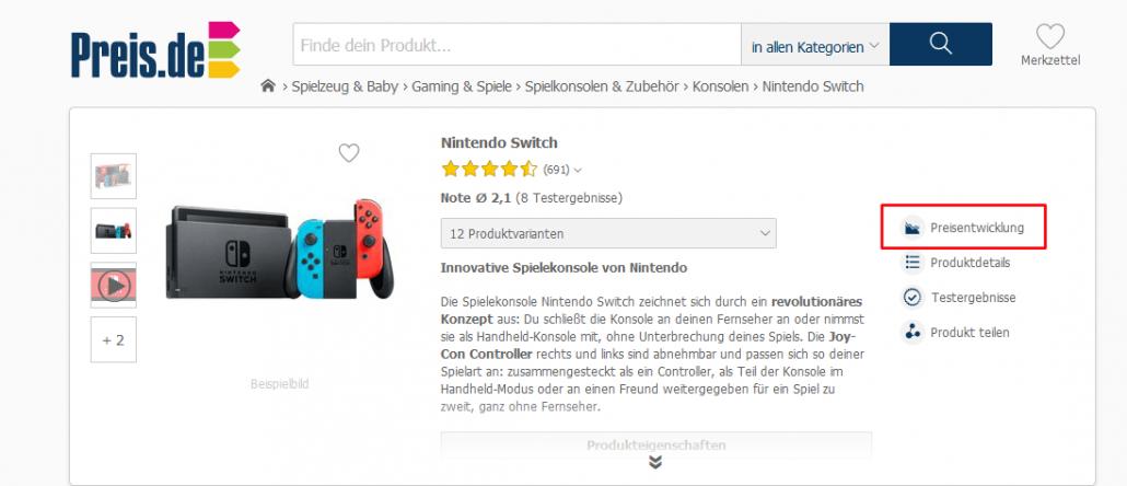 Preis.de und Preisentwicklung der Switch