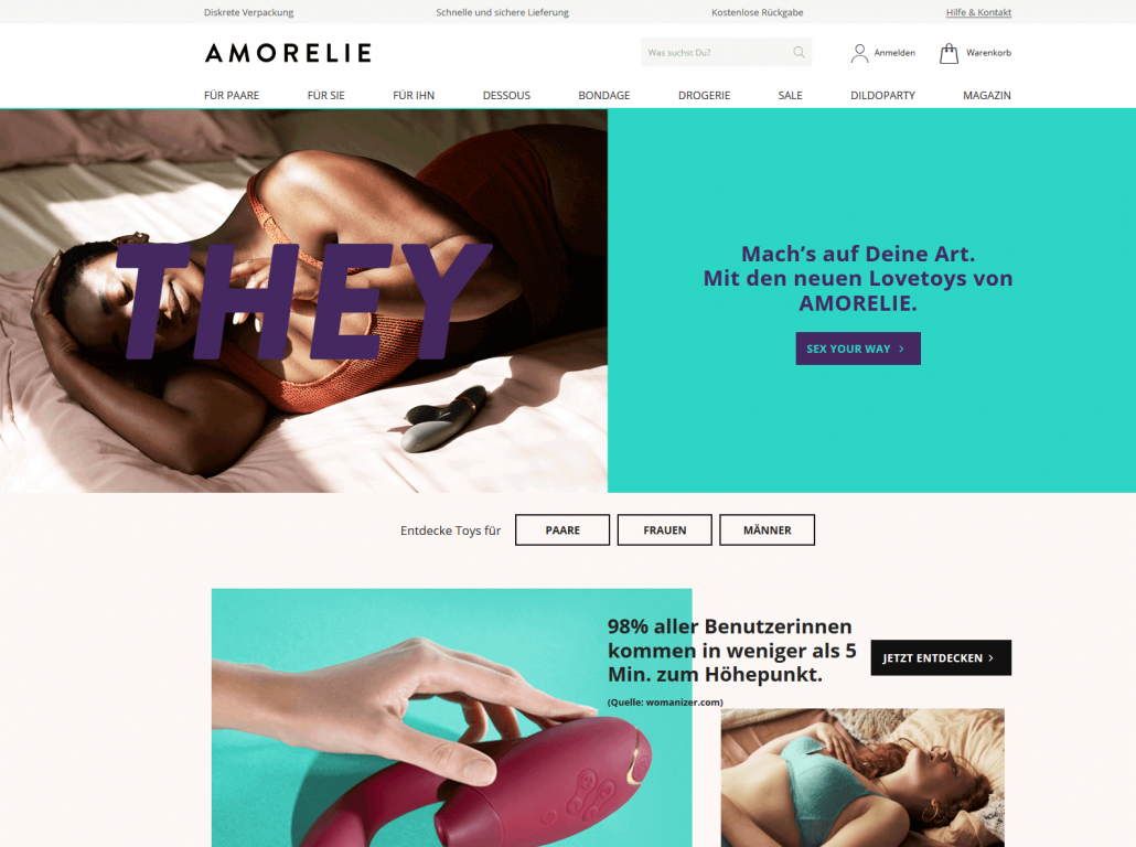 Startseite des Shops Amorelie.de