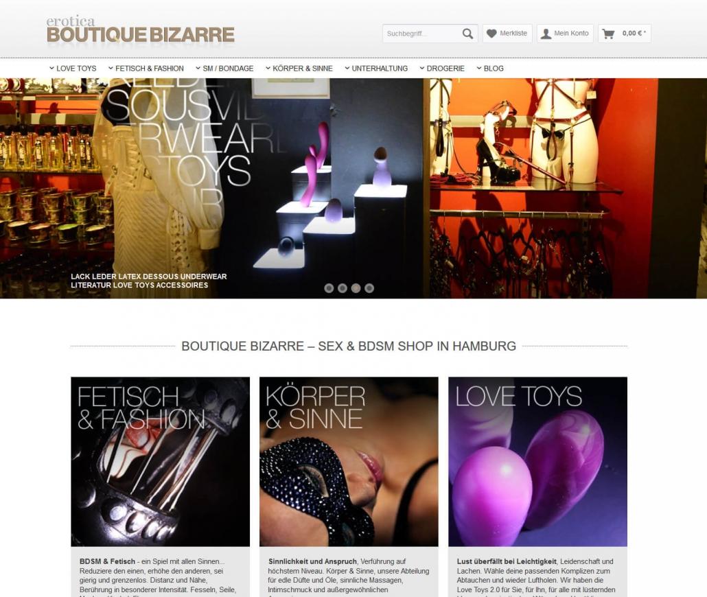 Startseite des Online-Shops Boutique Bizarre