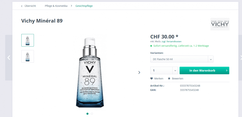 """""""Vichy Mineral 89 Elixier"""" (50 ml) bei Xtrapharm.ch"""