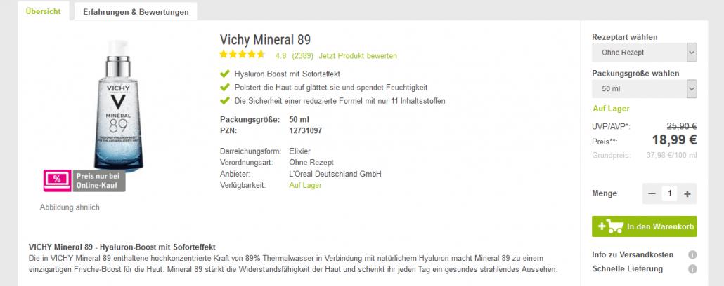 """Vichy Mineral 89 Elixier"" (50 ml) bei Doc Morris"