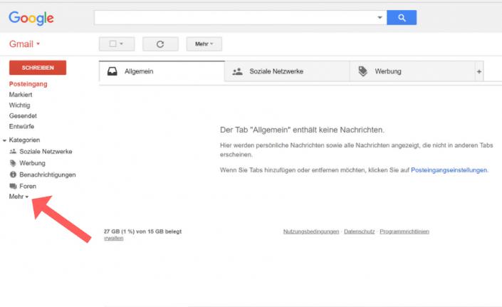 Whitelist erstellen Gmail Schritt 1