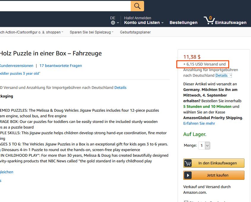 Anzeige Versandkosten auf Amazon.com