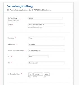 Verzollungsauftrag erteilen – MyPaketshop Verzollungsservice - Name Adresse eintragen