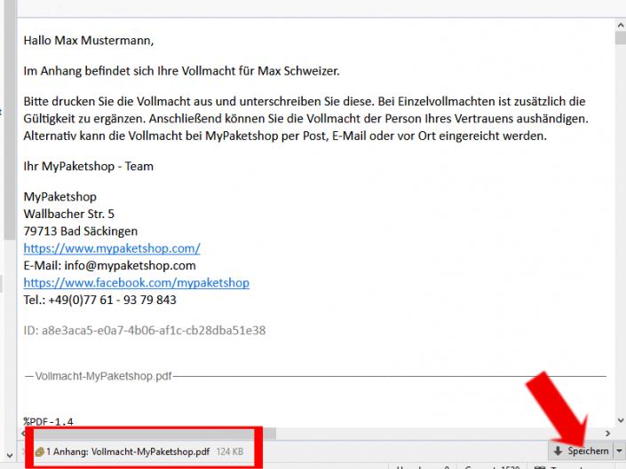 E-Mail mit Vollmacht im Anhang