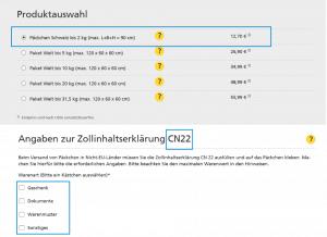 Vorauswahl Päckchen - Zollinhaltserklärung CN22