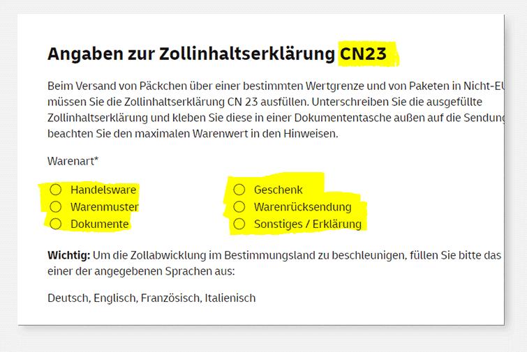 Vorauswahl Paket - Zollinhaltserklärung CN23