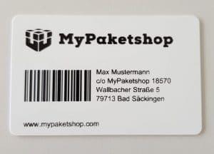 MyPaketshop (ihre deutsche Lieferadresse) Kundenkarte sieht so aus