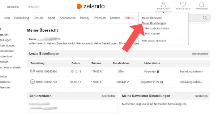 """Menüpunkt """"Meine Bestellungen"""" bei Zalando"""