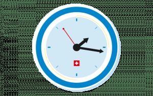 Uhr mit Öffnungszeiten (grafisch)
