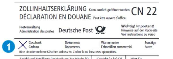 Zollinhaltserklärung Beispiel Post manuell CN 22