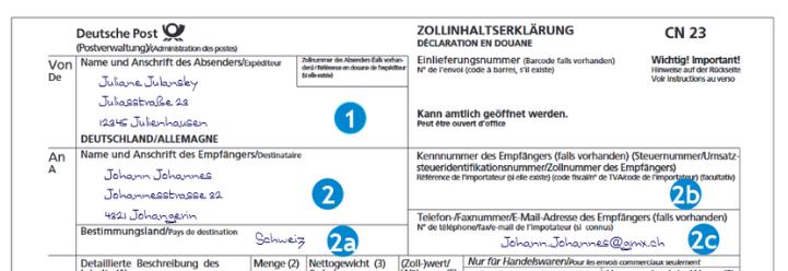 Zollinhaltserklärung Beispiel Post manuell CN 23