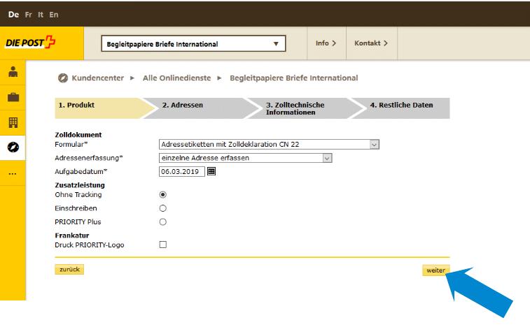 Zollinhaltserklärung CN22 - weitere Leistungen