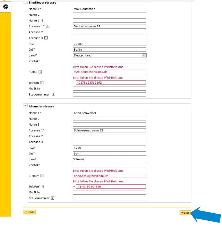 Zollinhaltserklärung CN22- Absender und Adressat