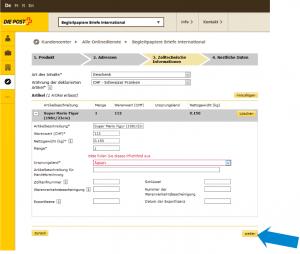Zollinhaltserklärung CN22-Angaben zur Ware