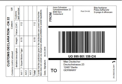 Zollinhaltserklärung CN22 - Dokument als PDF geöffnet