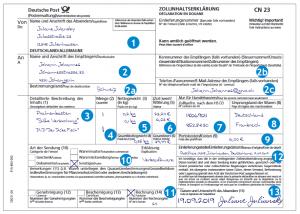 Zollinhaltserklärung CN23 manuell ausgefüllt