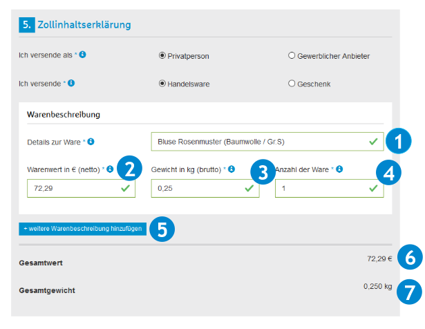 Online Formular Hermes - Zollinhaltserklärung CN23
