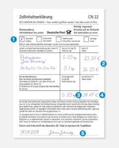 schriftlich ausgefüllte Zollinhaltserklärung CN22