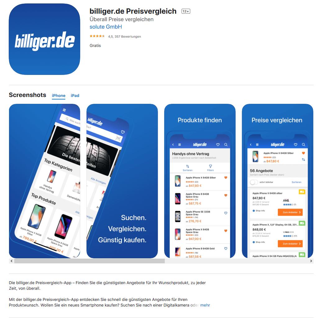 billiger.de-App im Appstore