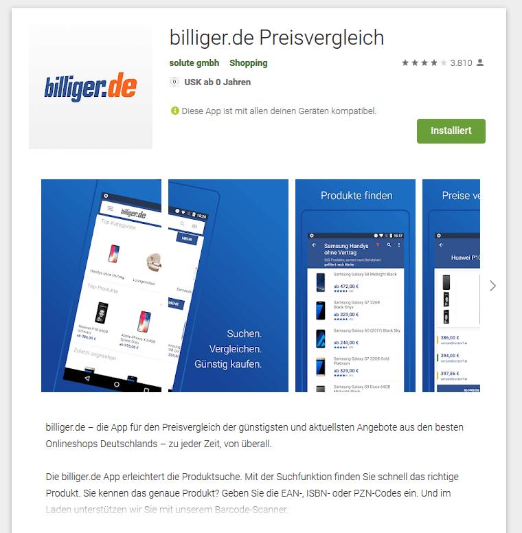 billiger.de-App im Playstore