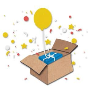 Gewinnerpaket mit Luftballon