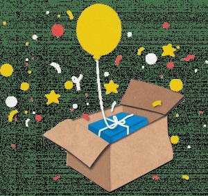Glückspaket mit Ballon und Konfetti