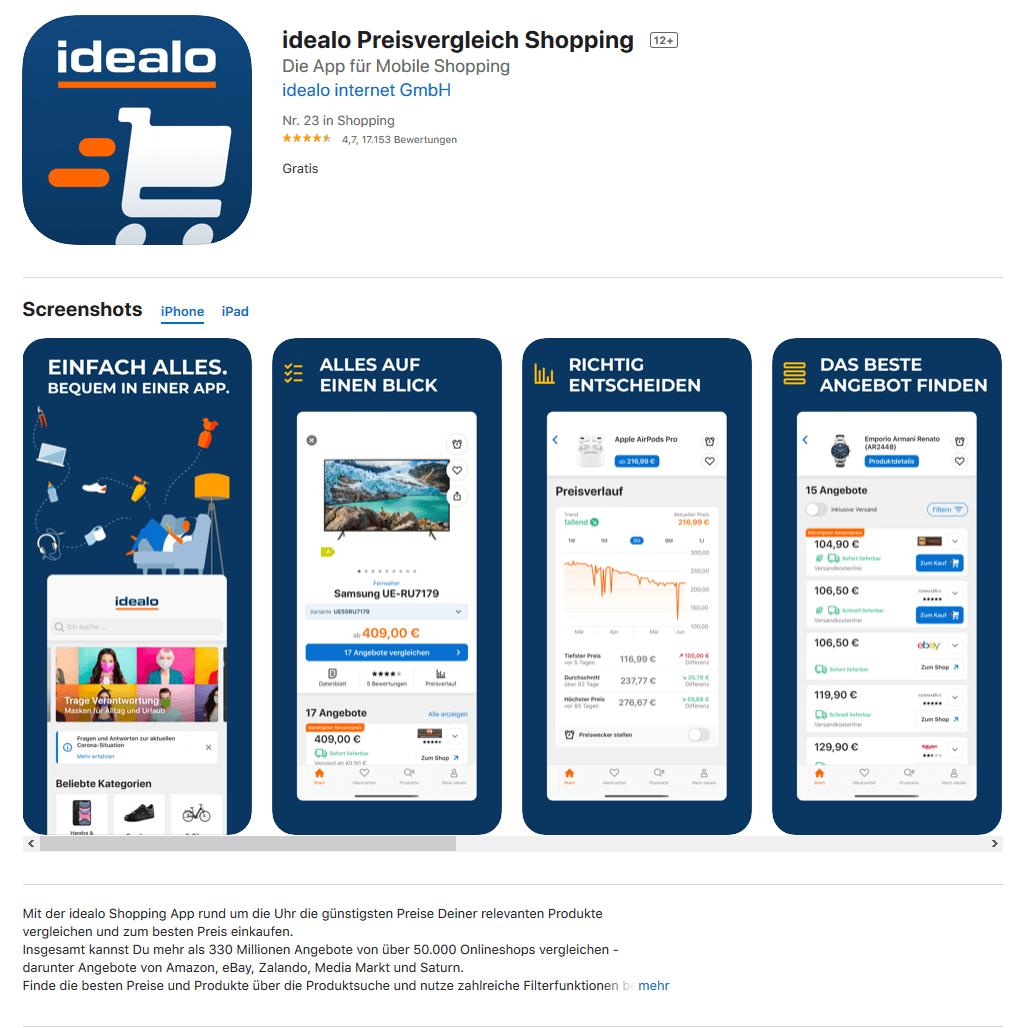 idealo-App im Appstore