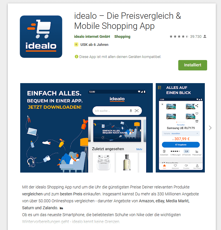 idealo-App im Playstore