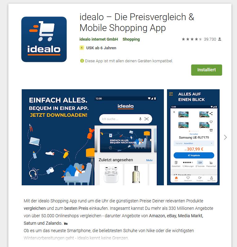 idealo-App im Playstore