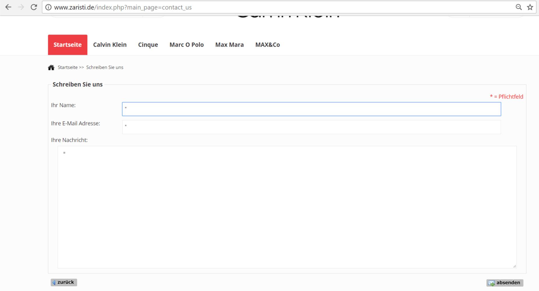 Kontaktformular eines Fake Shops