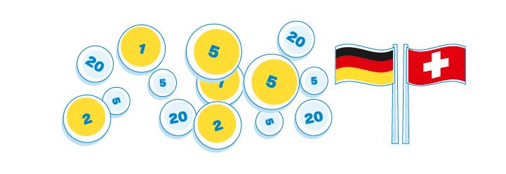 Geld und Schweizer sowie Deutsche Flagge - grafisch