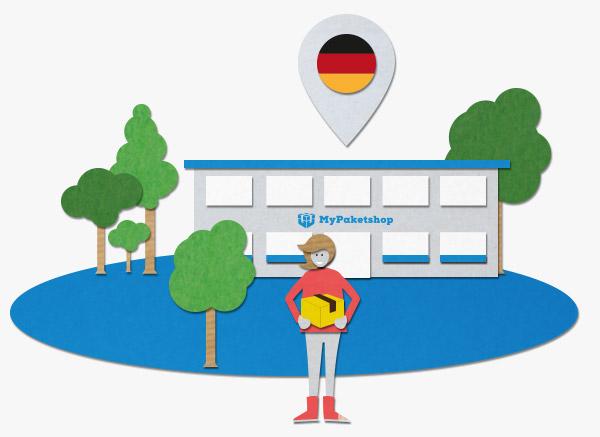 Kundin vor deutschem MyPaketshop (grafisch)