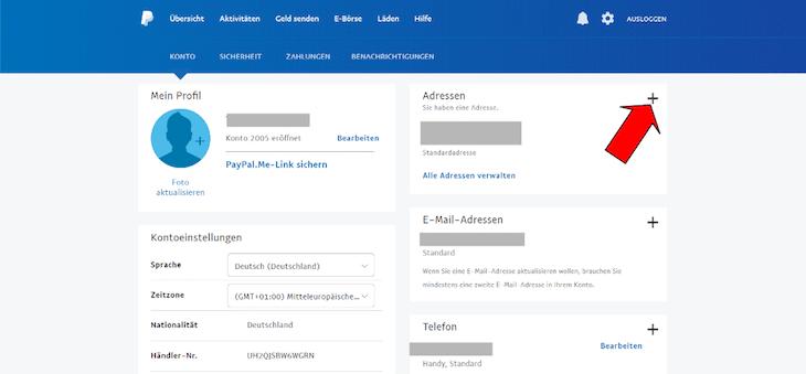 PayPal Einstellungen