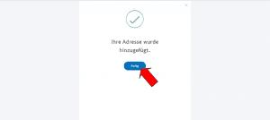 PayPal Adresse erfolgreich hinzugefügt