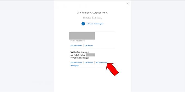 PayPal Adresse verwalten