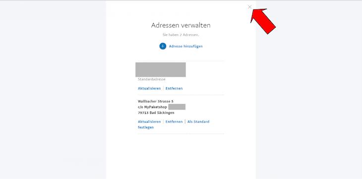 PayPal Adressverwaltung schliessen