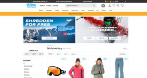 Webseite Planet Sports mit Skibrille und Winterjacken