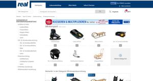 Webseite Real mit Schlitten und Schlittschuhen