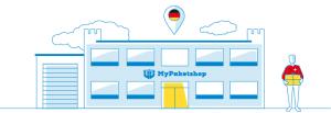 modernes Gebäude MyPaketshop mit Kunde (grafisch)