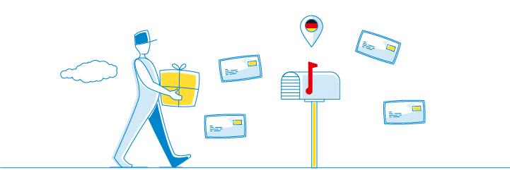 Bote bringt Paket (grafisch)